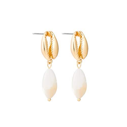 Zink-Legierung New Bohemian natürliche Shell Ohrringe für Frauen-Strand-Hochzeit langen Goldtropfen-Ohrringe Partei-Geschenk, Gold -