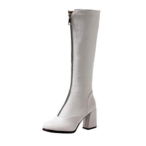 Y2Y Studio Femmes Bottes sous Genoux Fashion Style à Talons Conforts Bloc 7.5cm Petit Bout Rond avec Fermeture Elair Devant Femmes Boots Simple Hiver