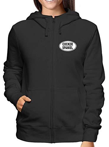 T-Shirtshock Sweatshirt Damen Hoodie Zip Schwarz FUN1027 Cocker Spaniel OVAL 95576 Cocker Spaniel T-shirt Sweatshirt