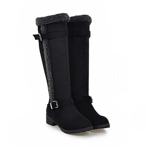 Yiiquan Donna Lunghi Stivaletti con Caldo Foderato Blocco Ginocchio Stivali Snow Boots Nero
