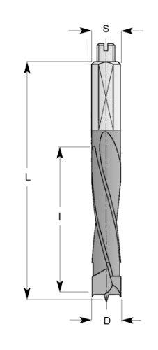 ENT Dübelbohrer mit Rückenführung HW (HM) S10x20 D8x43 GL70mm rechts