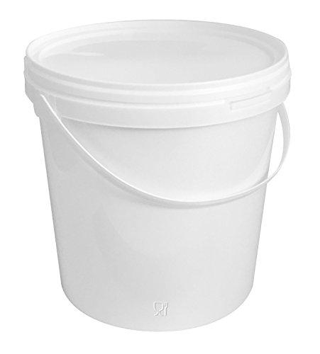 Preisvergleich Produktbild 50 Stück 10 Liter Eimer mit Deckel, weiß, stapelbar, mit Lebensmittelfreigabe