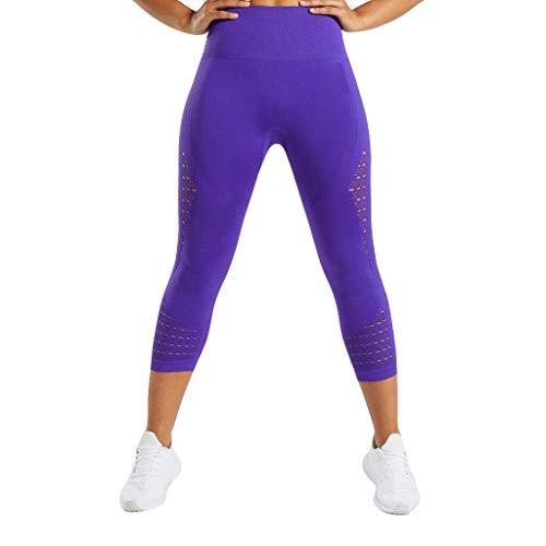 CAOQAO Pantaloni da Donna Pantaloni Leggings Yoga/Moda Donna Sexy Cava a Vita Alta Hip Fitness Pantaloni Casual da Corsa Sport Pantaloni Yoga/Viola/S-L