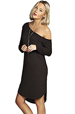 OYMMENEY Damen Kleid Blusenkleid T Shirt Tunika Bluse Sommerkleid Oberteil tunikakleid Kleider Damenbluse Top Knielang One Shoulder