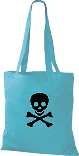 ShirtInStyle Stoffbeutel Skull Totenkopf Schädel diverse Farbe sky blue