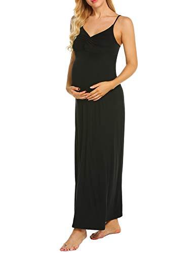 MAXMODA Maternity Kleid, Damen Umstandsmode Sommerkleid Festliches Umstandskleid Schwangeren Kleider Mutterschaftskleid Nachthemd Schwangerschaft Stillkleider Schwarz - 2