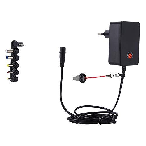 DEYF 18W AC DC Universal Ladegerät Adapter 3V 4,5V 5V 6V 7,5V 9V 12V Multi-Netzteil mit 6 Austauschbare Spitzen für Tablet-PC, Router-Lautsprecher, LED-Streifen, Kameras und mehr (Basic) -