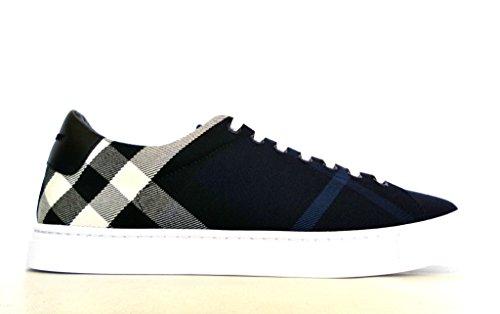 BURBERRY , Herren Sneaker Blau BLU Check + Nero, Blau - BLU Check + Nero - Größe: 40.5 EU - 6.5 UK