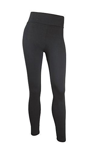 Damen Leggings mit Push-Up Effekt sehr elastisch, Sporthose Jogginghose ideale Fitnesshose und Freizeithose lang in schwarz von Gwinner, schwarz, S