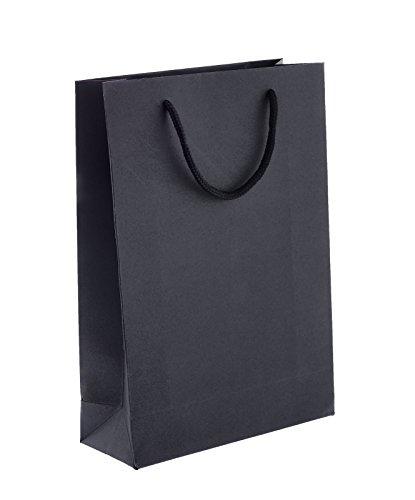 8 x Papiertragetaschen gross, Kraftpapier, Papiertüten, schwarz, Tragetasche mit Flachhenkel und Ösen, 21x30x8 cm