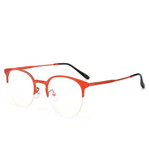 Zygeo -Half Rahmen-Glas-Rahmen f¨¹r Frauen freie Gl?Ser halb Rand Wein-Rot-Rosa Damen Brillen Rezept Myopie Frames Brillen [rot]