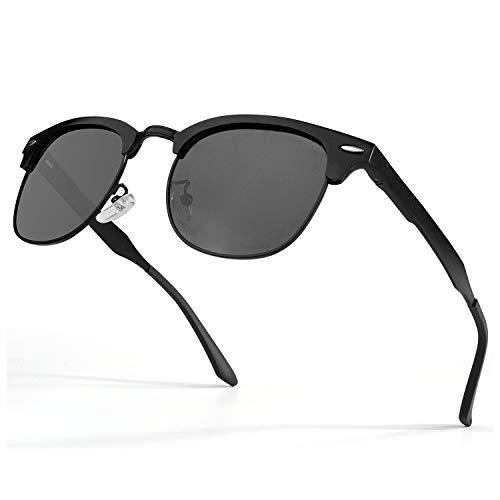 GQUEEN Horn Gestell Al-Mg Halbrahmen Polarisierte Sonnenbrille GQF8