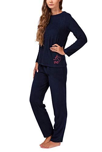 Moonline Frottee-Schlafanzug für Damen mit Motivdruck, Farbe:navy, Größe:40/42