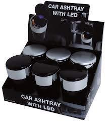 Posacenere portatile per la macchina con luce led e coperchio a chiusura ermetica (nero)