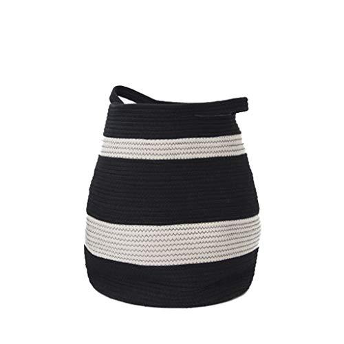 Therryley Organizer Aufbewahrungskörbe Baumwollseil gewebt, hochwertige Wäschekorb Korbkörbe mit Griffen für Kinderzimmer Kinderzimmer Bad Handtuch Kinderzimmer Bins Wohnzimmer,Large