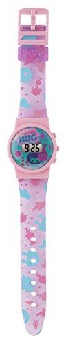 Troll TROL40 - Reloj digital para niña con esfera azul y correa de plástico rosa