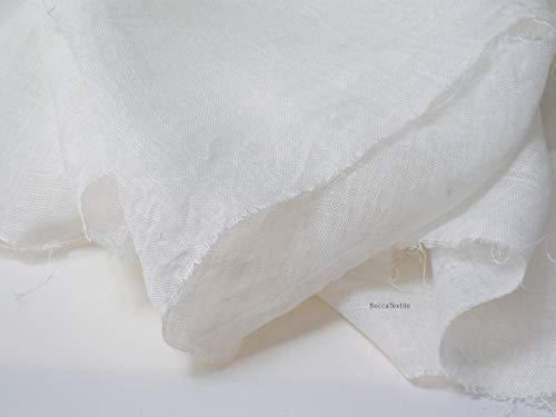 Leinenstoff Meterware, 100% gaze stoff weiß, 160 cm breit, leichter, transparenter Chiffonstoff. -