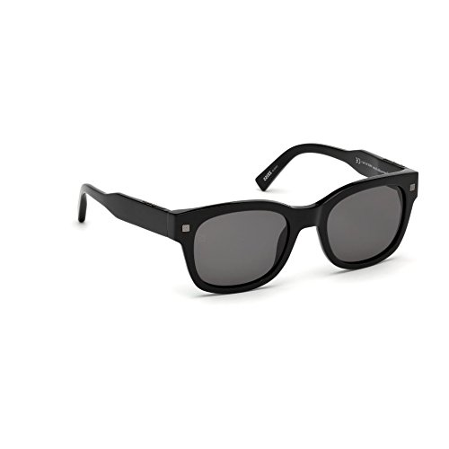 Occhiali da sole ermenegildo zegna uomo nero lucido lenti fumo ez0087/s 01a 52-20-140
