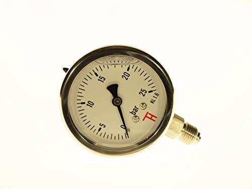 THERMIS Manometer aus Edelstahl mit Bourdon-Stift 304CHG Anschluss von unten (63 mm) (0 - 25 bar) -