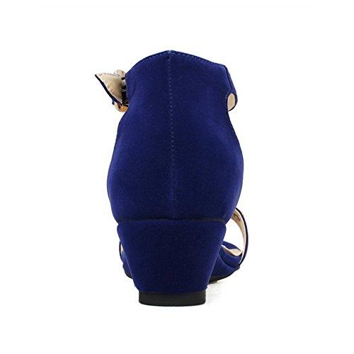 VogueZone009 Donna Puro Pelle Di Mucca Tacco Basso Punta Aperta Fibbia Sandali Azzurro