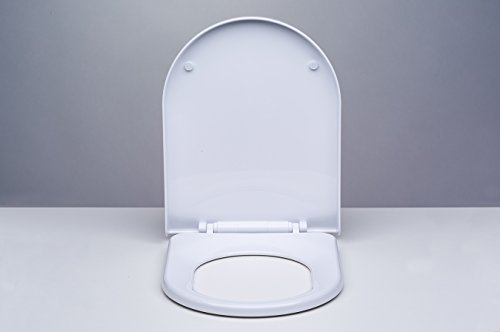 Preisvergleich Produktbild NKP Inci WC Sitz weiß mit Absenkautomatik - hochwertige Ausführung - Toilettendeckel Toilettensitz Klodeckel Klobrille Soft-Close Duroplast Kunststoff