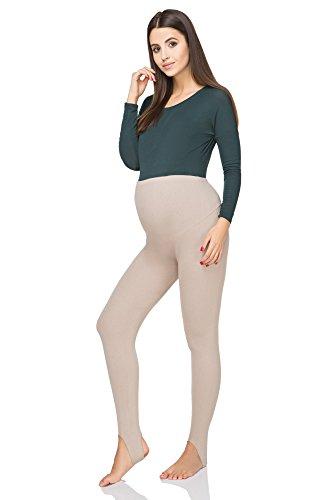 futuro fashion Schwangerschaft Steigbügel Winter Leggings bequem Unterstützung weich Strumpfhose mit Fleecefutter preg-ls Beige