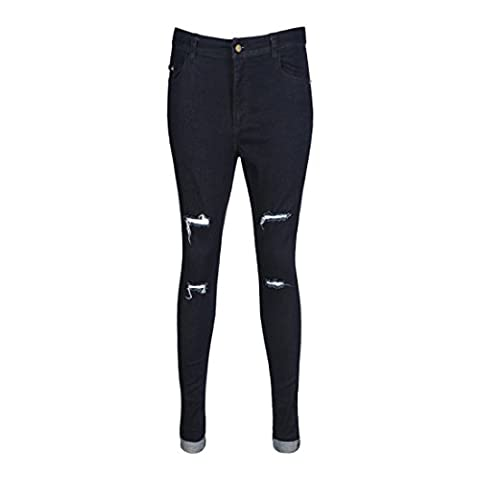 Women's Fashion Mid Waist Solid Black Zippers Pencil Jeans Pants Black / XL