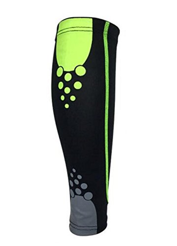 NUCARTURE® calf compression sleeve support for men running and compression socks sleeves for legs football Leg Warmers sleeves for shin splint (green,1 pc)