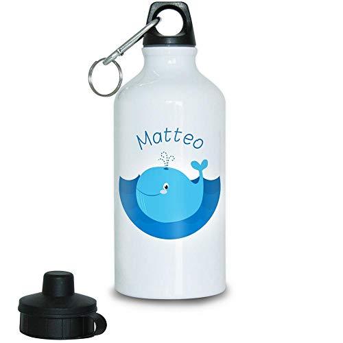 e mit Namen Matteo und Motiv mit Blau-Wal für Jungen | Motiv-Trinkflasche | Kinder-Aluflasche ()