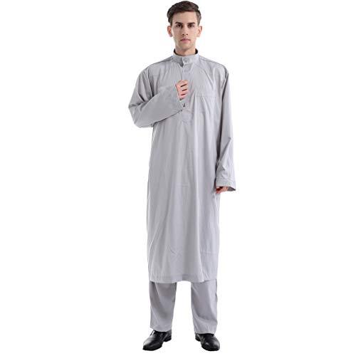 LHWY Sommerkleid Damen Elegant MäNner Ethnische Langarm Islamische Moslemische Mittlere Osten Maxi Roben Hose Suite Kaftan Lang Maxikleid Vintage - Hosen Suite