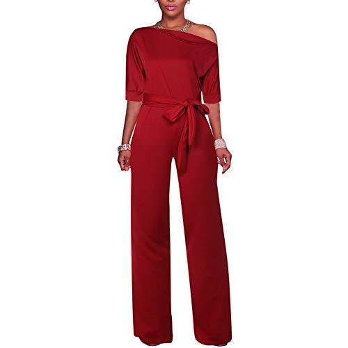 Lover-Beauty Jumpsuits Damen Sexy One Shoulder Feste Overalls Breites Bein Lange Strampler Hose mit Gürtel rot M One-shoulder-jumpsuit