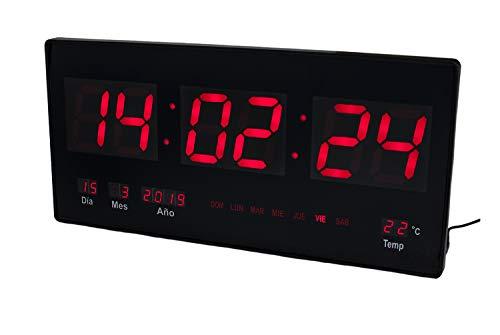 JeVx Reloj Digital Pared Led Color Rojo Calendario