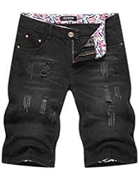 b8b17b6590bee Targogo Hommes Jeans Trous Courtes Ttert Cher Washed Light Slim Fit Pant  Vintage Mode Casual Denim