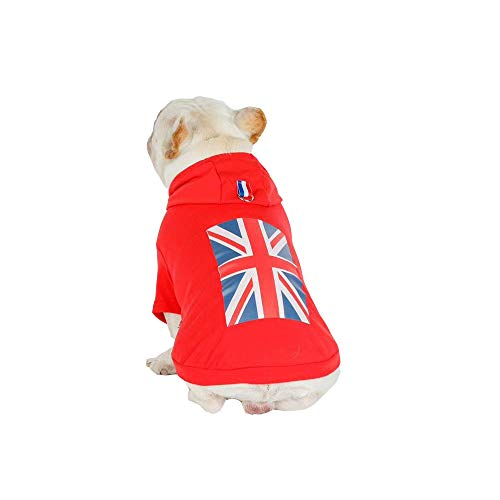 Kostüm Für Kaltes Wetter - NashaFeiLi Haustier Kleidung Hund Kapuzenpullover UK Flag Baumwolle Warm Mantel Jacke Kalt Wetter Kostüm für Welpen Kleine Meidum Hunde