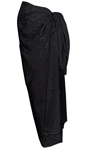 Seestern Sportswear Sarong Pareo Wickeltuch Wickelrock Batik Strand Tuch in weicher Premium Qualität /FBA_1201 Schwarz