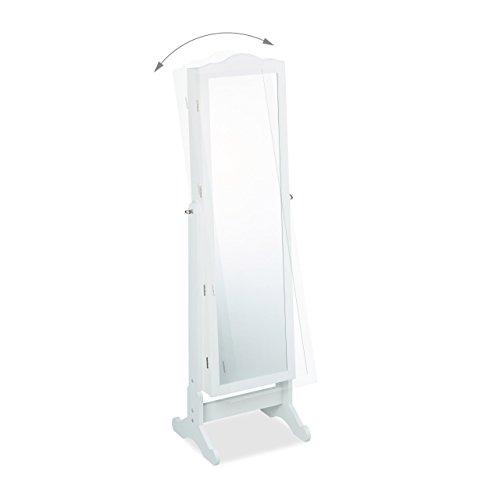Relaxdays Schmuckschrank Spiegel zum Stellen, Schmuckkasten abschließbar, Spiegelschrank LED, HBT: 151x46x36,5 cm, weiß - 2