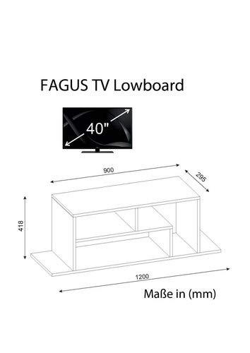 Wohnwand Anbauwand TV Medienwand Wohnwandkombi Lowboard FAGUS in Weiß 1933 - 4
