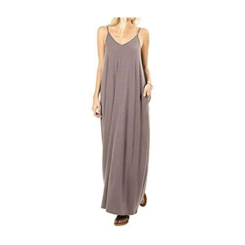 GROSIU& Ladies V-Neck Sleeveless Long Maxi Beach Dress Modal Cotton Womens Summer Dress Khaki US XS=Asian M
