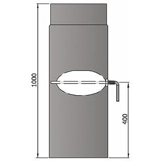 LANZZAS Rauchrohr Ofenrohr Kaminrohr Verlängerung 1000 mm mit Drosselklappe Ø 150 mm grau