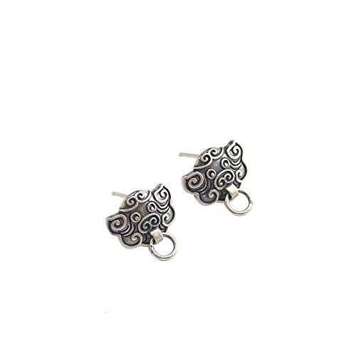 Reines Silber, Um Das Alte Schwein Jahr Salbei Chinesischen Windring Ohr Nägel Verziert Thai Silber Tierkreis Zu Tun 12,7 mm Acht Gebote -