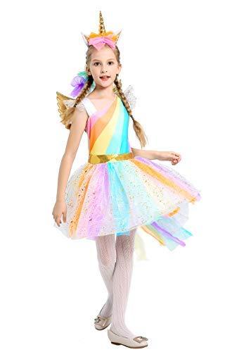Pretty Princess Ragazze Unicorno Fiore Arcobaleno Abito Principessa Costume Tutu Festa Elegante Vestito e Accessori e Ala 7-8 Anni