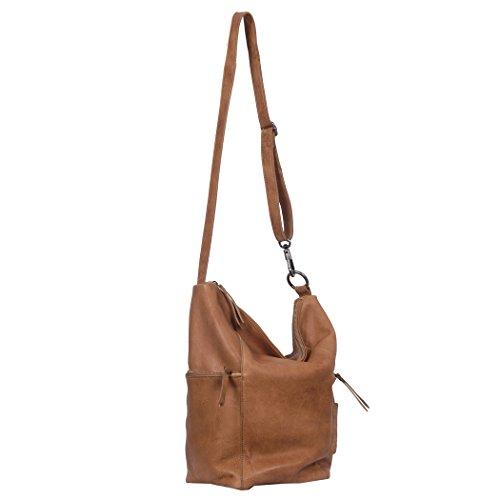 Vilenca Holland 40790 Blau, Umhängetasche, Schultertasche, Handtasche, Ledertasche Damen; 39x35x9cm (LxHxB) Tan