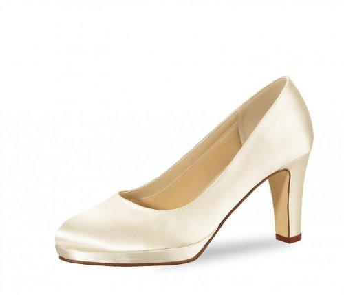 Rainbow Club Brautschuhe Grace - Pumps, High Heels, Ivory/Creme, Satin, Größe 38 - Hochzeitsschuhe, Blockabsatz Satin-high-heels