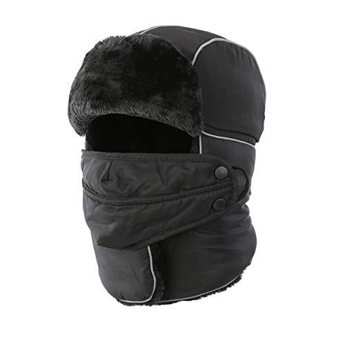 Magracy Unisex Männer Hut Herren Winter Russische Trooper Trapper Mütze warm Ushanka Jagdhut mit Ohrenklappen Gesichtsmaske Schwarz
