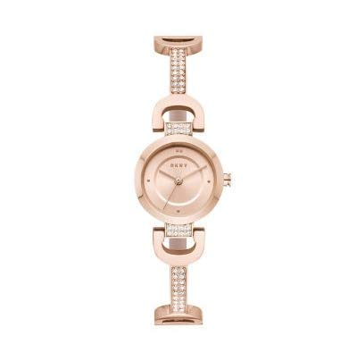 DKNY NY2752 Ladies City Link Rose Gold Stainless Steel and Silver Diamante Watch Best Price and Cheapest