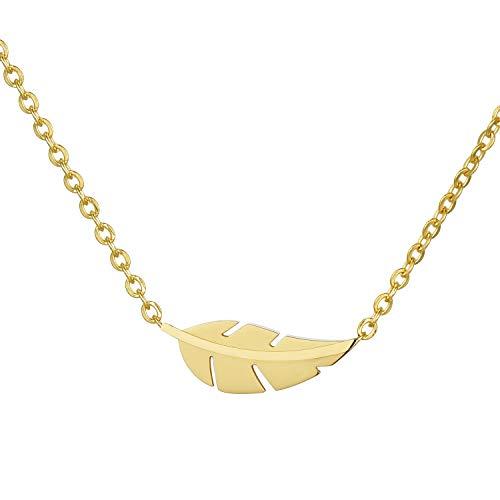 Morella Collar Mujeres con Colgante Hoja de Acero Inoxidable Oro en Bolsa de Terciopelo