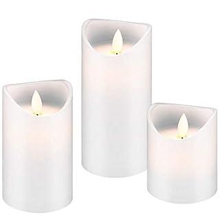 AccuCell Neu 3er Set mit LED-Echtwachs-Kerzen mit realistischem, bewegendem Licht in Weiss, mit Timer Funktion inklusive Batterien