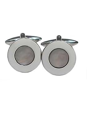 Perlmutt Manschettenknöpfe rund grauer Perlmutt - 17 mm + Silberbox