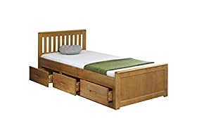 Cloudseller MISSION SINGLE BED 3 FT CAPTAIN-3DRAWER IN HONEY WITH MATTRESS