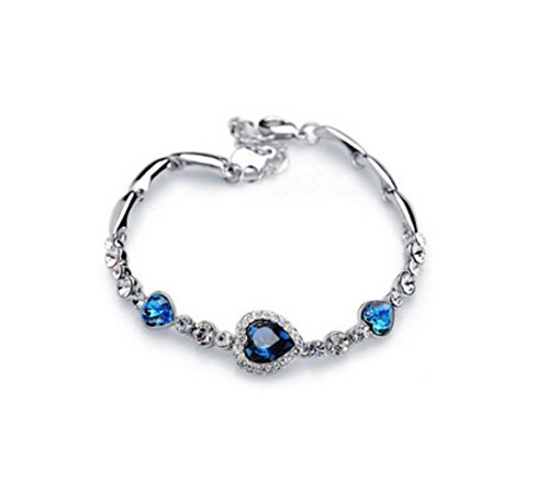 Liroyal Österreichischer Kristall Titanic Herz des Ozeans Inspiriert Armreif Armband, Ozeanblau